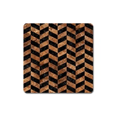 Chevron1 Black Marble & Brown Stone Magnet (square) by trendistuff