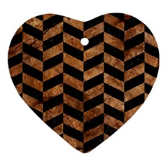 Chevron1 Black Marble & Brown Stone Heart Ornament (two Sides) by trendistuff