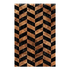 Chevron1 Black Marble & Brown Stone Shower Curtain 48  X 72  (small) by trendistuff