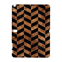 Chevron1 Black Marble & Brown Stone Samsung Galaxy Note 10 1 (p600) Hardshell Case by trendistuff