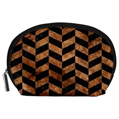 Chevron1 Black Marble & Brown Stone Accessory Pouch (large)