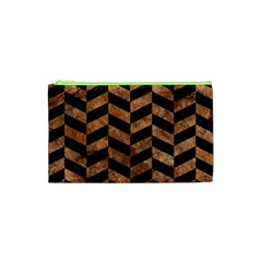Chevron1 Black Marble & Brown Stone Cosmetic Bag (xs) by trendistuff