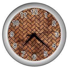 Brick2 Black Marble & Brown Stone (r) Wall Clock (silver) by trendistuff