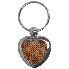 Brick2 Black Marble & Brown Stone (r) Key Chain (heart) by trendistuff