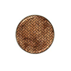 Brick2 Black Marble & Brown Stone (r) Hat Clip Ball Marker by trendistuff