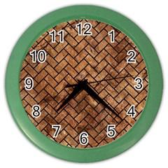 Brick2 Black Marble & Brown Stone (r) Color Wall Clock by trendistuff