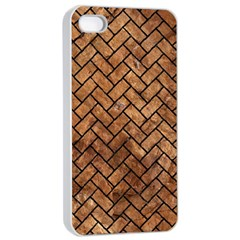 Brick2 Black Marble & Brown Stone (r) Apple Iphone 4/4s Seamless Case (white) by trendistuff