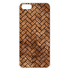 Brick2 Black Marble & Brown Stone (r) Apple Iphone 5 Seamless Case (white) by trendistuff