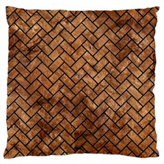 Brick2 Black Marble & Brown Stone (r) Standard Flano Cushion Case (one Side) by trendistuff