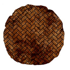 Brick2 Black Marble & Brown Stone (r) Large 18  Premium Flano Round Cushion  by trendistuff