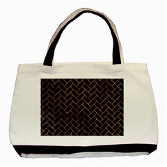 Brick2 Black Marble & Brown Stone Basic Tote Bag by trendistuff