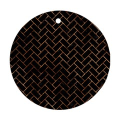 Brick2 Black Marble & Brown Stone Round Ornament (two Sides) by trendistuff