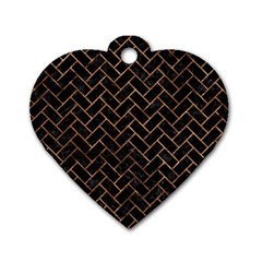 Brick2 Black Marble & Brown Stone Dog Tag Heart (two Sides) by trendistuff