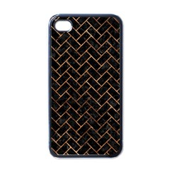 Brick2 Black Marble & Brown Stone Apple Iphone 4 Case (black) by trendistuff