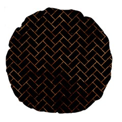 Brick2 Black Marble & Brown Stone Large 18  Premium Round Cushion  by trendistuff