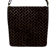 Brick2 Black Marble & Brown Stone Flap Closure Messenger Bag (l) by trendistuff