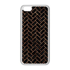Brick2 Black Marble & Brown Stone Apple Iphone 5c Seamless Case (white) by trendistuff