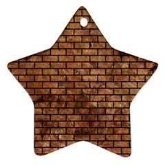 Brick1 Black Marble & Brown Stone (r) Star Ornament (two Sides) by trendistuff