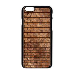 Brick1 Black Marble & Brown Stone (r) Apple Iphone 6/6s Black Enamel Case by trendistuff
