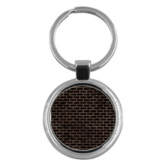 Brick1 Black Marble & Brown Stone Key Chain (round) by trendistuff
