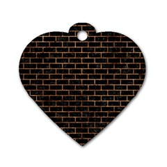 Brick1 Black Marble & Brown Stone Dog Tag Heart (one Side) by trendistuff