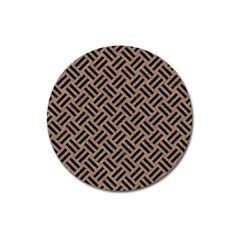Woven2 Black Marble & Brown Colored Pencil (r) Magnet 3  (round) by trendistuff