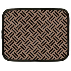 Woven2 Black Marble & Brown Colored Pencil (r) Netbook Case (xl) by trendistuff