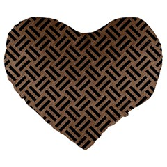 Woven2 Black Marble & Brown Colored Pencil (r) Large 19  Premium Flano Heart Shape Cushion by trendistuff