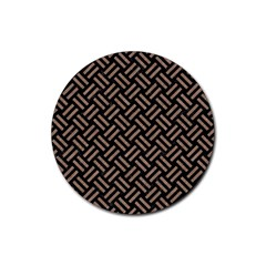 Woven2 Black Marble & Brown Colored Pencil Rubber Coaster (round) by trendistuff