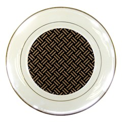 Woven2 Black Marble & Brown Colored Pencil Porcelain Plate by trendistuff