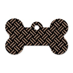 Woven2 Black Marble & Brown Colored Pencil Dog Tag Bone (one Side) by trendistuff