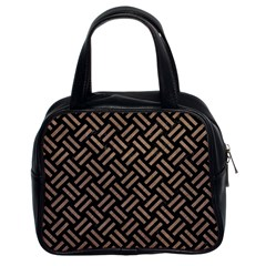 Woven2 Black Marble & Brown Colored Pencil Classic Handbag (two Sides) by trendistuff