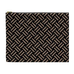 Woven2 Black Marble & Brown Colored Pencil Cosmetic Bag (xl) by trendistuff
