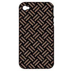 Woven2 Black Marble & Brown Colored Pencil Apple Iphone 4/4s Hardshell Case (pc+silicone) by trendistuff