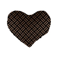 Woven2 Black Marble & Brown Colored Pencil Standard 16  Premium Heart Shape Cushion  by trendistuff