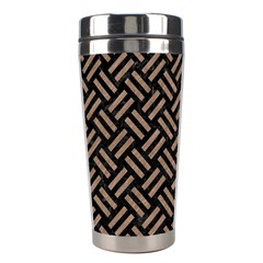 Woven2 Black Marble & Brown Colored Pencil Stainless Steel Travel Tumbler by trendistuff