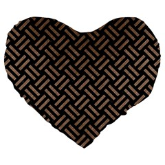 Woven2 Black Marble & Brown Colored Pencil Large 19  Premium Flano Heart Shape Cushion