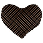 WOVEN2 BLACK MARBLE & BROWN COLORED PENCIL Large 19  Premium Flano Heart Shape Cushion Front