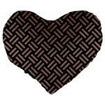 WOVEN2 BLACK MARBLE & BROWN COLORED PENCIL Large 19  Premium Flano Heart Shape Cushion Back