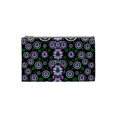 Fantasy Flower Forest  In Peacock Jungle Wood Cosmetic Bag (small)  by pepitasart