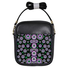 Fantasy Flower Forest  In Peacock Jungle Wood Girls Sling Bags by pepitasart
