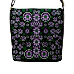 Fantasy Flower Forest  In Peacock Jungle Wood Flap Messenger Bag (l)  by pepitasart