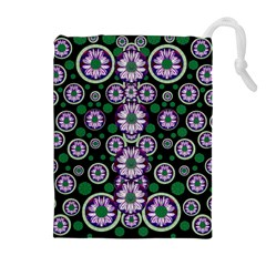 Fantasy Flower Forest  In Peacock Jungle Wood Drawstring Pouches (extra Large) by pepitasart