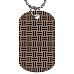Woven1 Black Marble & Brown Colored Pencil (r) Dog Tag (two Sides) by trendistuff
