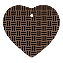 Woven1 Black Marble & Brown Colored Pencil (r) Heart Ornament (two Sides) by trendistuff