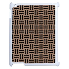 Woven1 Black Marble & Brown Colored Pencil (r) Apple Ipad 2 Case (white) by trendistuff