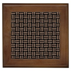 Woven1 Black Marble & Brown Colored Pencil Framed Tile by trendistuff