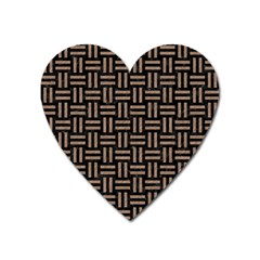 Woven1 Black Marble & Brown Colored Pencil Magnet (heart) by trendistuff
