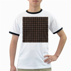 Woven1 Black Marble & Brown Colored Pencil Ringer T by trendistuff