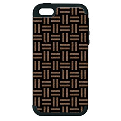 Woven1 Black Marble & Brown Colored Pencil Apple Iphone 5 Hardshell Case (pc+silicone) by trendistuff